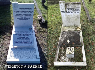 Memorial cleaning by Wrighton & Barker