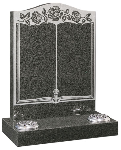 Ogee headstone with sandblasted book design