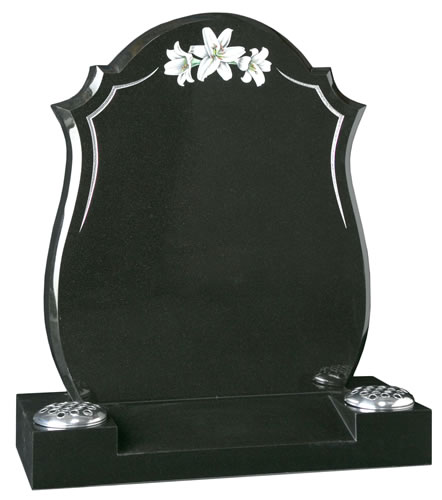 Contemporary Headstone with Lily Design