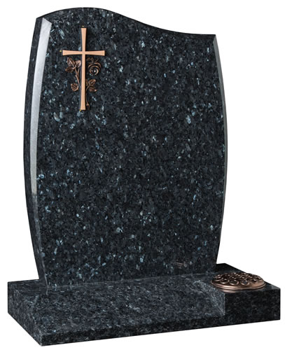 Anton Style Headstone with Bronze Cross