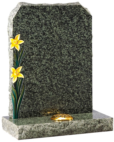Rustic Headstone with Painted Carved Daffodils